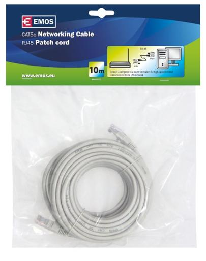 Emos Patch kabel UTP, CAT 5e, AWG26, PVC, šedý, 10m