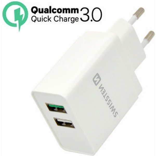 SWISSTEN TRAVEL CHARGER QUALCOMM 3.0 QUICK CHARGE + SMART IC WITH 2x USB 30W POWER WHITE